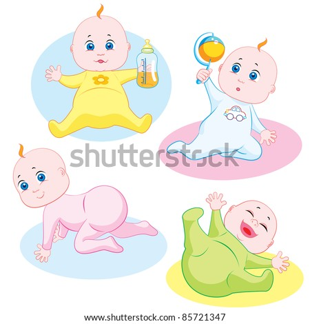 Four cute babies playing and smiling - stock vector