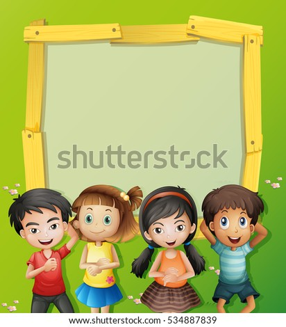 Four cute kids in blank frame