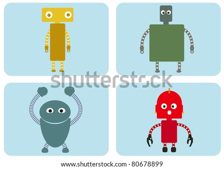 Four cute robots - stock vector