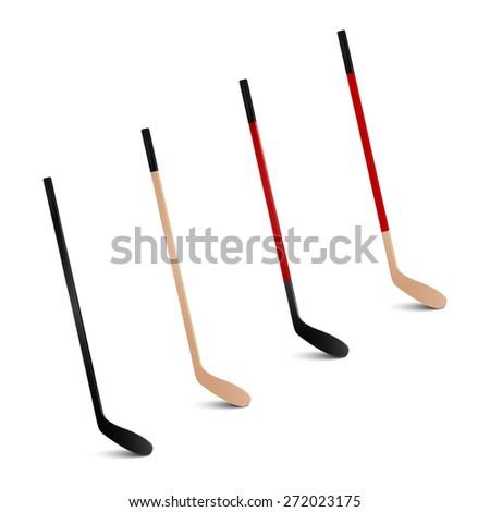Four 3d realistic ice hockey sticks. Vector set.  - stock vector