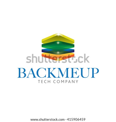 Four 3D translucent colorful shinny rectangular stacked up in vector format illustrations - stock vector