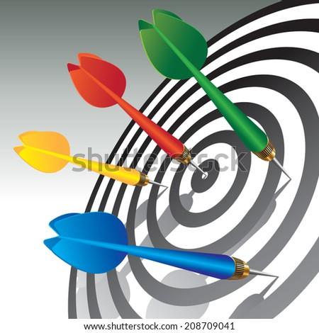 Four darts in dartboard. Vector illustration - stock vector