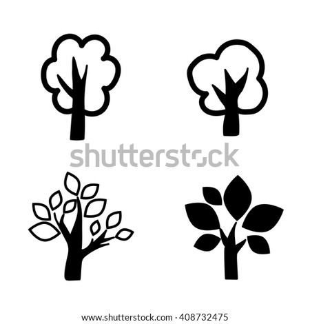 four deciduous black trees icon set vector.