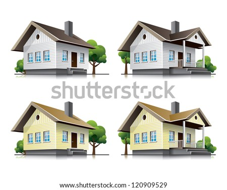Four detailed wooden cottages vector icons in cartoon style. Family house vector buildings in perspective view. Home architecture with wood facade. - stock vector