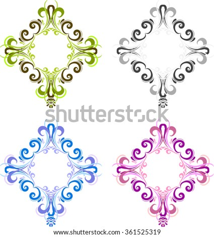 Four diamond shaped vintage frame for photos with a square in the center. Black, blue, green and pink. Ornate square frames for photo in vector - stock vector