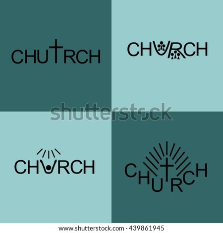 Four different Christian logo Church - stock vector