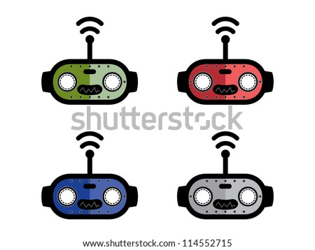 Four Different Colored Robot Heads. - stock vector