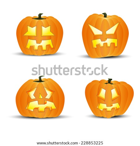 Four different halloween pumpkins - isolated on white background. Vector illustration. - stock vector