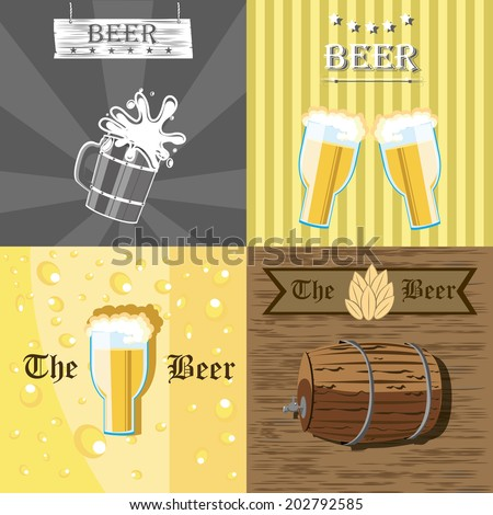 Four different images with some beverages elements - stock vector