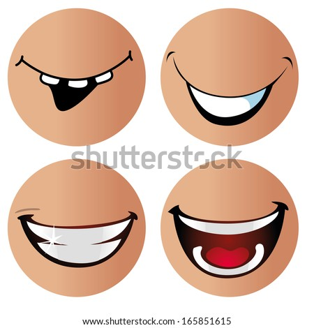 four different kind of smiles in different round faces with no eyes - stock vector