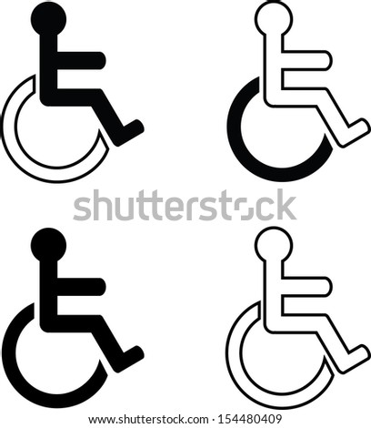 four different labels for the disabled - stock vector