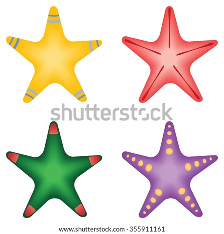 Four different multicolored Starfish, vector