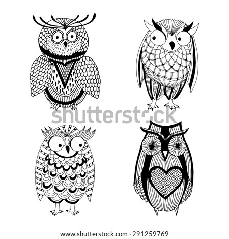 Four different owls - Owl variation  - stock vector