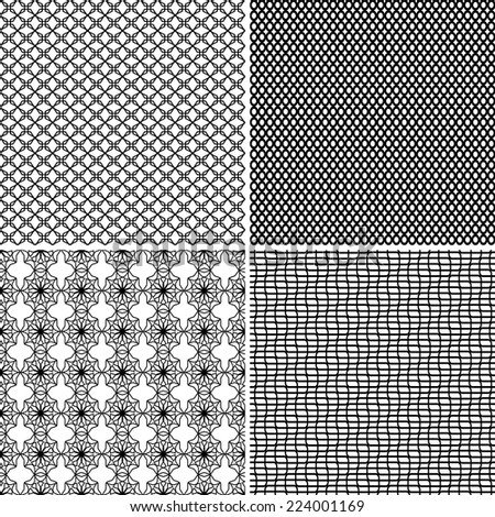 Four different seamless ornamental greed patterns in one file collected. Black and white vector illustration - stock vector