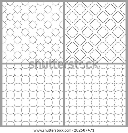 Four different seamless pattern black and white - stock vector