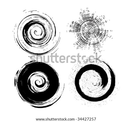 four different type vector circle Grunge brushes - stock vector