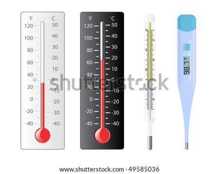 Four different types of thermometers with several temperatures - stock vector