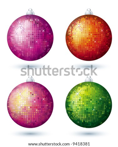 four disco ball over white background, vector