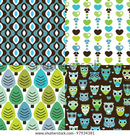Four easy to edit seamless retro owl tree spring pattern background in vector - stock vector