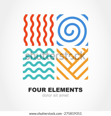 Four elements simple line symbol. Vector logo template. Abstract design concept for nature energy, tourism, travel, business, synergy. Fire, air, water and earth sign.  - stock vector