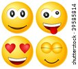 Four emoticons isolated on white background. Vector illustration. - stock photo