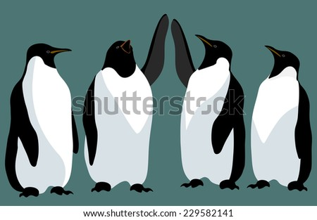 Four Emperor penguin isolated against a green background - stock vector