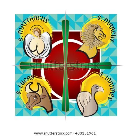 Four Evangelists Symbols Angel Lion Ox Stock Vector 488151961