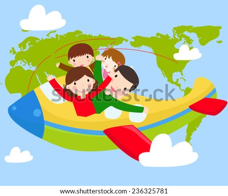 four family members going for a trip - stock vector