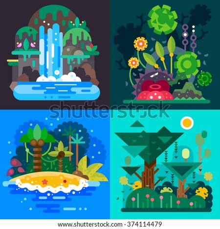Four Fantastic jungle landscapes with a tropical bushes, paradise island, mystical waterfall and rain forrest. Flat vector illustration set. - stock vector