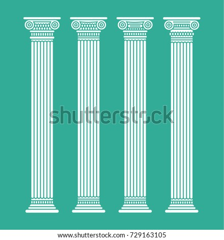 Four flat long white graphic antique roman columns. Vector illustration. Isolated.