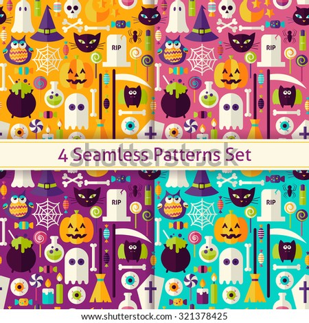 Four Flat Seamless Scary Halloween Patterns Set. Flat Style Vector Seamless Texture Backgrounds. Collection of Halloween Party Templates. Trick or Treat - stock vector