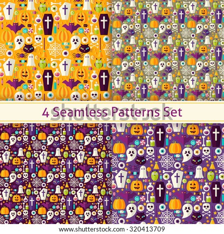 Four Flat Seamless Trick or Treat Halloween Party Patterns Set. Flat Style Vector Seamless Texture Backgrounds. Collection of Halloween Holiday Templates.  - stock vector