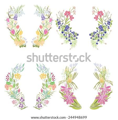 Four floral frames - stock vector