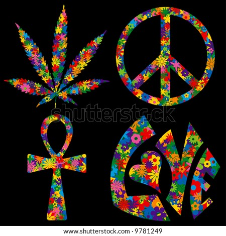 Four Flower Filled 60s Symbols - Pot Leaf, Peace Symbol, Ankh and Love - stock vector