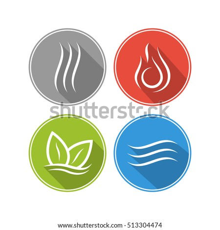 four forces elements water fire earth stock vector