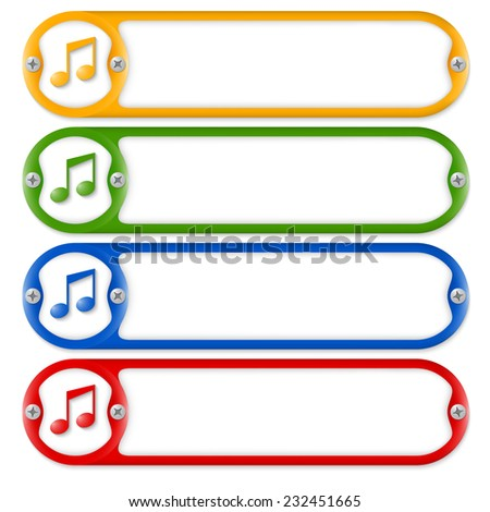 four frames with screws and music symbol - stock vector