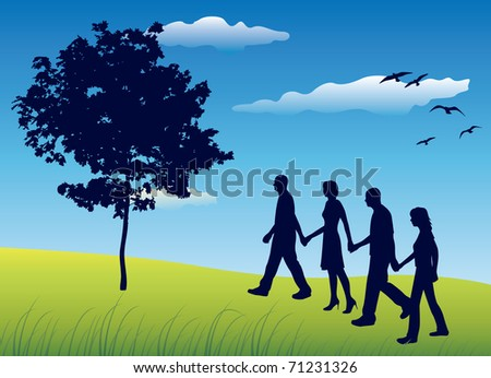 four friends holding for hands and walking on field near tree, blue sky, vector