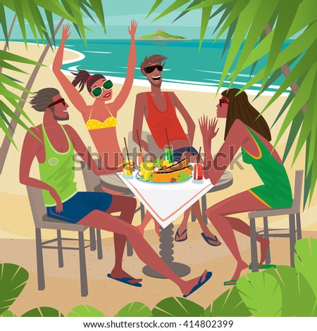 Four friends sitting at a table on the beach, talking and eating fresh tropical fruits, palm trees around. Beautiful sunny weather - Leisure or Friendship concept. Vector illustration