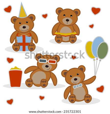 Four funny cartoon bear-cubs. Funny cartoon bear reading a book. Funny cartoon bear with balloons. Funny cartoon bear with gift. Funny cartoon bear in cinema. Background with hearts. Set vector. - stock vector