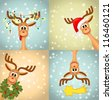 Four funny christmas reindeer - vector illustration, eps 10 - stock vector