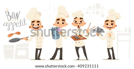 Four funny cook. Bon appetit lettering . Cook characters. Cartoon funny cook - stock vector