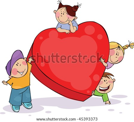 Four funny kids with big red heart - stock vector