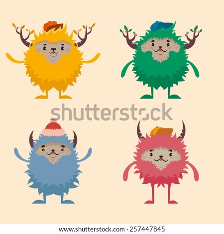 Four funny monsters in the hats - stock vector