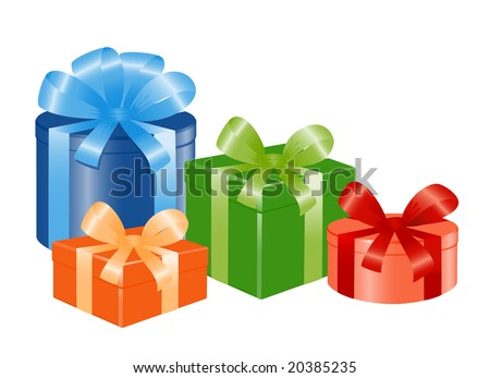 Four giftboxes with ribbon. Vector-Illustration