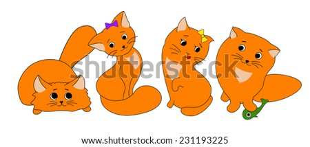 Four ginger cartoon cats. Vector