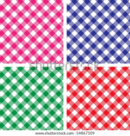 Four Gingham Plaids Vector