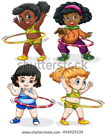 Four girls playing hulahoops illustration