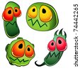 Four glossy germs - stock vector