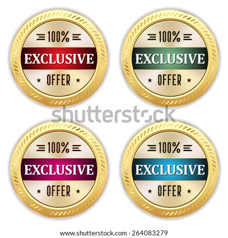 Four gold exclusive offer badges with different colors - stock vector