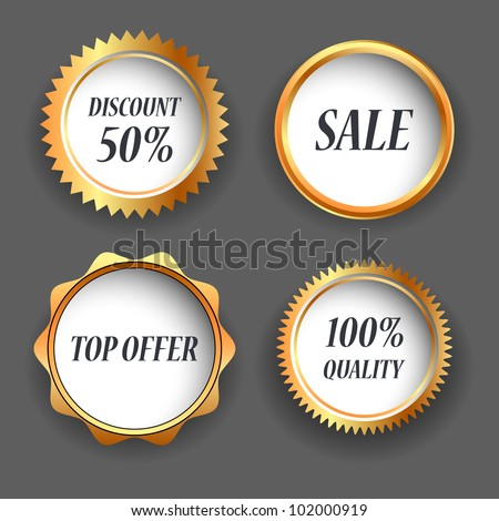 four gold label, eps10 - stock vector